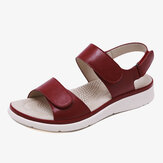 Women Soft Sole Hook Loop Solid Color Comfy Summer Sandals