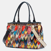 Women Genuine Leather Patchwork Tote Crossbody Bag Handbag