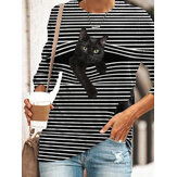 Black Cat Print Long Sleeve O-neck Long Sleeve Striped Plus Size Casual T-shirts