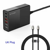 BlitzWolf® BW-S16 75W 6-Port USB PD Charger Desktop Charging Station Dual PD3.0 QC3.0 With Baseus 100W 5A Zinc Magnetic USB-C to USB-C Data Cable Fast Charging UK Plug Adapter For iPhone 11 SE 2020