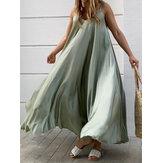 Luźna, swobodna sukienka maxi w jednolitym kolorze bez rękawów Spaghetti