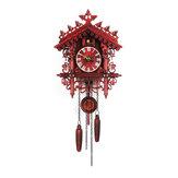 Rzemieślniczy zegar ścienny z kukułką Drewniany dom z drzewem domowym Zegar ścienny Art Home Decor