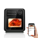 BlitzHome® BH-AO1 1900W 13QT / 12L Smart Air Fryer Oven Elemento calefactor doble Aplicación de 12 recetas / Control táctil con bandeja para hornear, rejilla para pinchos, bandeja de malla, jaula giratoria, asa para asador, barra para asador