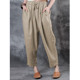 Women Elastic Waist Side Pocket Daily Casual Solid Pants