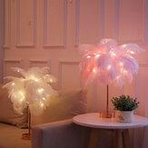 Mesa de sombra de plumas Lámpara LED Luz de noche Mesita de noche Decoración retro Control remoto
