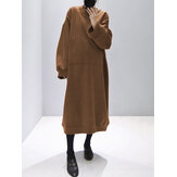 Women Solid Color Front Pocket Long Sleeve Plus Size Casual Thick Hoodie Dress