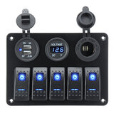 5 Gang On-Off Azul LED Voltímetro del panel del interruptor de palanca Dual USB Coche barco Marina