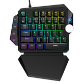 ZIYOULANG K5 Kablolu Tek elle Mekanik Klavye 39 Tuşları Mavi Anahtarı RGB Tek El Oyun PS4 Bilgisayar PC Laptop için Klavye