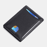 Hommes en cuir véritable RFID Anti-vol Push Card Slot Multi-Slot License Case porte-carte portefeuille