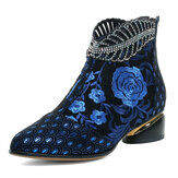 Original              Women Comfy Soft Leather Embroidered Flowers Rhinestone Chunky Heel Ankle Boots