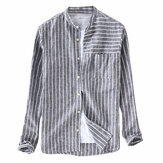 Mens Vintage Bomull Andas Striped Loose Comfy Skjortor