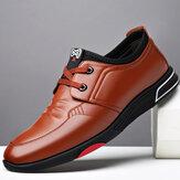 Erkek Soft Sığır Derisi Deri Rahat Su Geçirmez Bağcıklı İş Günlük Ayakkabıları