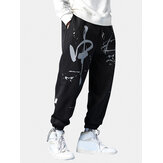 Mens Graffiti Print Plus Velvet Drawstring Beam Feet Pants Thicken Jogger Pants