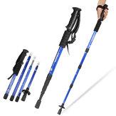 IPRee®4セクションハイキングウォーキングクライミングスティックトレッキングポール調節可能な耐衝撃アルミ缶50-110cm