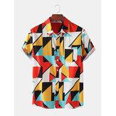 メンズカジュアルカラーブロック通気性ポケット半袖シャツ