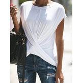 נשים מקרית צבע מלא O- צוואר קצר חולצת חולצת טריקו
