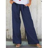 Cepli Düz Renk Elastik Bel Gevşek Günlük Günlük Pantolon