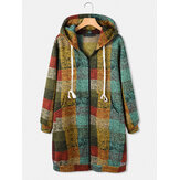 Women Colorful Plaid Zipper Long Sleeve Casual Hooded Coats With Pocket