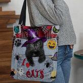 Kadın Kanvas Magic Şapka Üç Boyutlu 3D Sevimli Siyah Kedi Çanta Tote Omuz Çanta