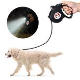 DIGOO DG-PL901 5M einziehbare Haustier-Traktionsleine Wasserdichte automatische flexible Hundeleine 360 ° selbstsichernder Haken mit LED Taschenlampe für Hunde, die laufende Haustierbedarf haben