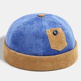 Banggood Design mężczyźni sztruks kontrastowy kolor na co dzień krótkie małe kieszonkowe dekoracje utrzymuj ciepłą czapkę bez ramiączek czapka właściciela czapka z czaszką