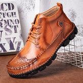 جلد طبيعي متبل رباط حذاء كبير الحجم خياطة يدوية Soft حذاء كاحل غير رسمي وحيد