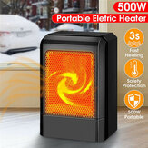 500W Portable Black Ceramic Electric Heater Home Office Heating Fan Low Noise 3s Fast Heating