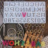 224Pcs Llavero Kit de fabricación Número de joyería Alfabeto Silicona Molde Llaveros Anillos de salto Giro Taladro Tornillo Juego de alfileres de ojos