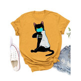 Cartoon Masks Cat Print Personalized Short Sleeve Loose Casual T-shirts