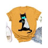 Máscaras dos desenhos animados Impressão Gato Personalizado de manga curta solta Casual T-shirts