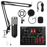 Condenser Microphone with Live Studio Sound Card Recording Mount Boom Stand Mic Kit for Live Broadcast K Song