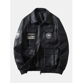 Erkek Nakış Çok Cepler Fermuar Yaka PU Deri Motosiklet Ceketler