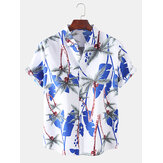 Mens Holiday Tropical Style Coconut Tree Pattern Respirant Casual Shirts