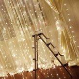 3x3M 300LED Gordijn Icicle String Fairy Licht Outdoor Bruiloft Decor EU Plug AC220V