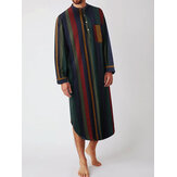 Mens Cotton Striped Print Chest Pocket Henley Collar Long Sleeve Home Pajama Robes