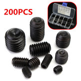 200pcs M3 M4 M5 M6 M8 Hex Socket Screws Assortment Black Grade 12.9 Alloy Steel