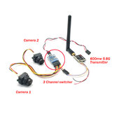 FPV Dual Camera System 1000TVL CMOS Mini Two Cameras + 5.8Ghz 600mW 40CH VTX + 3CH Switch Support PMW for RC Racing Drone