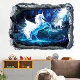 Miico Creative 3D Unicorn Broken Wall Habitación decorativa extraíble decoración de la pared Pegatina
