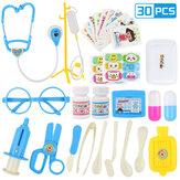 30/33/34/38/45 / 51Pcs Simulação Médica Role Play Jogo de equipamento de jogo de médico para o primeiro brinquedo educacional com Caixa for Kids Gift