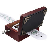 15 Tone DIY Hand Cranked Carved Music Box Classic Red Box With Hole Puncher 30 Pcs Paper Tapes