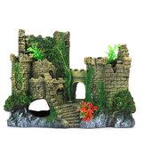 Pecera Castillo Resina sintética Forma de castillo simulado con flor de hierba Para acuarios de agua dulce y salada