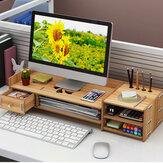 4 Colors 2 Tiers Multi-function Desktop Wooden Computer Monitor Riser Stand Laptop Screen Riser Wood Shelf Keyboard Desk Storage Rack