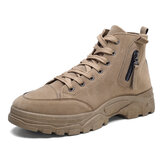 Men Suede Tooling Boots Side Zipper Comfy Slip Resistant Outdoor Casual Ankle Boots