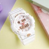SANDA 3000 Frisse kleurenmode-wekker Lichtgevend display Schokbestendig paar Dubbel display Digitaal horloge