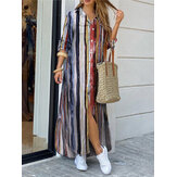 Maxi camicie casual da donna in cotone con stampa a righe colorate con tasche frontali