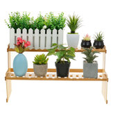 2 niveaus vetplant bloem Bonsai Pot plank Display opslag Desk Rack houder Mini boekenplank