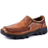 Men Microfiber Hand Stitching Soft Sole Non-slip Casual Shoes
