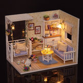 Cuteroom 1/24 Dollhouse Miniature DIY Kit With LED Light Cover Wood Toy Doll House Room Kitten Diary H-013