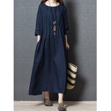 Vintage Pure Color O-neck Cotton 3/4 Sleeve Dress