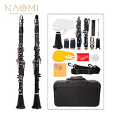 NAOMI Professional Bb 17-Key Clarinet ABS Clarinet Cupronickel Plated Nickel Kit W/ Clarinet+Reeds+Strap+Case+Components